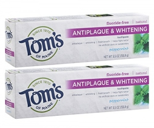 ihocon: Tom's of Maine Antiplaque and Whitening Fluoride-Free Toothpaste, Peppermint, 5.5 oz, Pack of 2 '   無氟美白牙膏