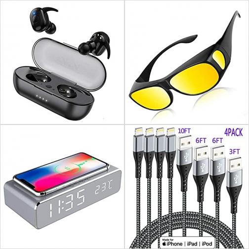 [Amazon折扣碼] 真無線耳機, 戴在近視眼鏡外的太陽眼鏡, 手機無線充電鬧鐘, iPhone充電器 額外折扣!