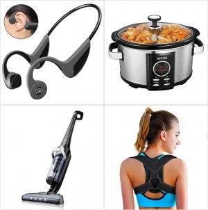 [Amazon折扣碼] 藍芽骨傳導耳機, 自訂程序6.5 Quart慢燉鍋, Deik無線吸塵器, 姿墊矯正帶 額外折扣!