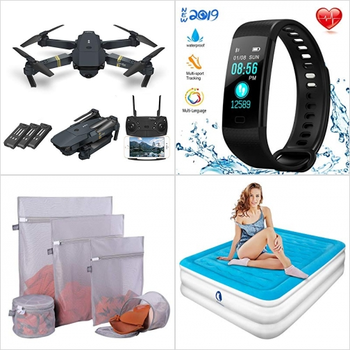 [Amazon折扣碼] 空拍機, 含3個電池, 心律監測運動手環, 洗衣袋, 內建打氣幫浦空氣床 額外折扣!