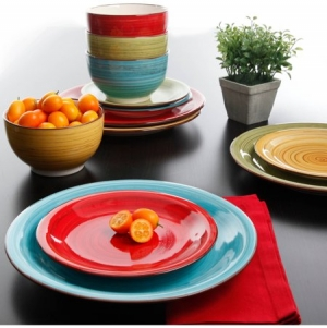 ihocon: Better Homes & Gardens Festival Dinnerware, Assorted Colors, Set of 12 餐盤組