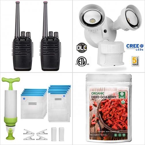 [Amazon折扣碼] Walkie Talkies對講機, 室外LED動作感應燈, 手動真空機及10個真空袋, 有機枸杞子 額外折扣!