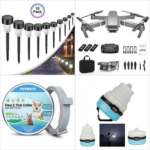 [Amazon折扣碼] 太陽能LED庭園燈, 空拍機, 寵物防蚤頸圈, LED營燈 額外折扣!