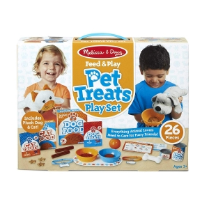 ihocon: Melissa & Doug Feed & Play Pet Treats Play Set With 2 Plush Stuffed Animals (26 pcs)