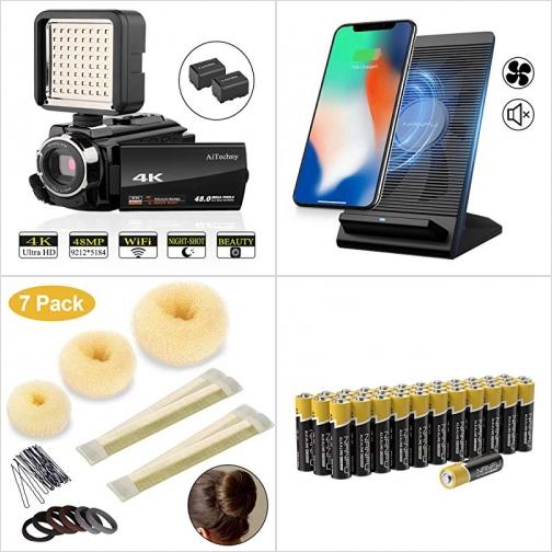 [Amazon折扣碼] 4K攝影機,  內建風扇快速無線充電板, 包包頭綁髮工具組, AA電池 額外折扣!