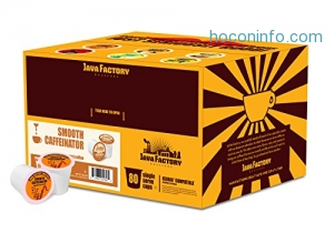ihocon: Java Factory Single Cup Coffee for Keurig K Cup Brewers, Smooth Caffeinator Medium Roast, 80 Count膠囊咖啡