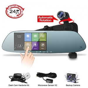ihocon: Panoramic 1080P Front and Rear Mirror Dash Cam,360°Automatic Rotatable Lens with 24H Parking Monitor, Night Vision行車記錄器