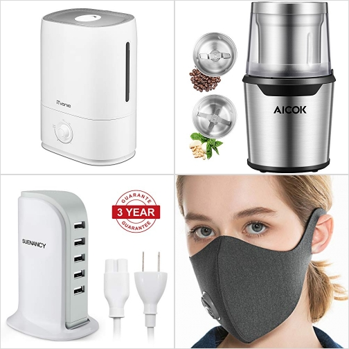 [Amazon折扣碼] 室內加濕器, 電動研磨機, USB Power Adapter, 活性碳口罩 額外折扣!