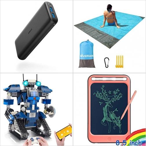 [Amazon折扣碼] 20000mAh行動電源/充電寶, 防水海灘毯, 遙控組合機器人, LCD手寫板 額外折扣!
