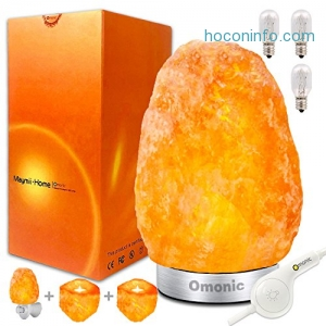 ihocon: Maymii.Home (8-13 lbs,8-11in) Pink White Himalayan Salt Lamp With 1 Salt Night Light, Pack of 2 Salt Candle Holder