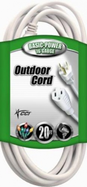 ihocon: Coleman Cable Outdoor Extension Cord In White (20 Ft, 16 gauge)  室外延長線
