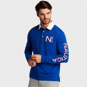 ihocon: Nautica Mens Long Sleeve Classic Fit Rugby Active Polo 男士長袖衫-多色可選