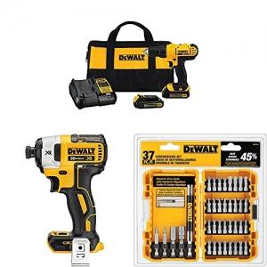 [Amazon今日特價] Dewalt 無線工具組 – Compact Drill Driver Kit + Speed Impact Driver + Screwdriving Set $162免運