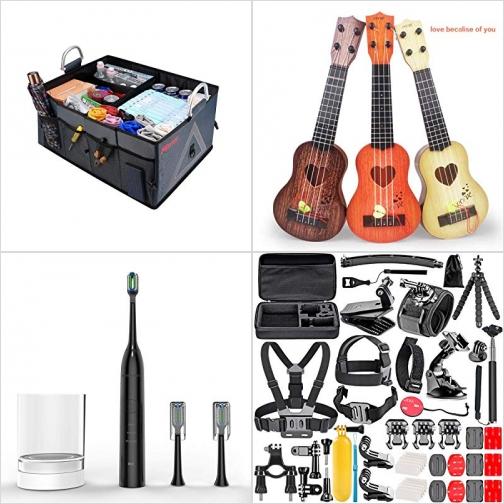 [Amazon折扣碼] 可折疊汽車置物箱, 玩具Ukulele, 電動牙刷, 運動相機配件 額外折扣!