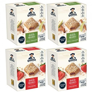 ihocon: Quaker Baked Squares, Soft Baked Bars, Apple Cinnamon & Strawberry, 5 Bars (Pack of 4)