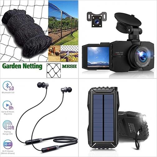 [Amazon折扣碼] 蔬果防鳥網, 行車記錄器, 藍芽無線耳機, 太陽能行動電源/充電寶 額外折扣!