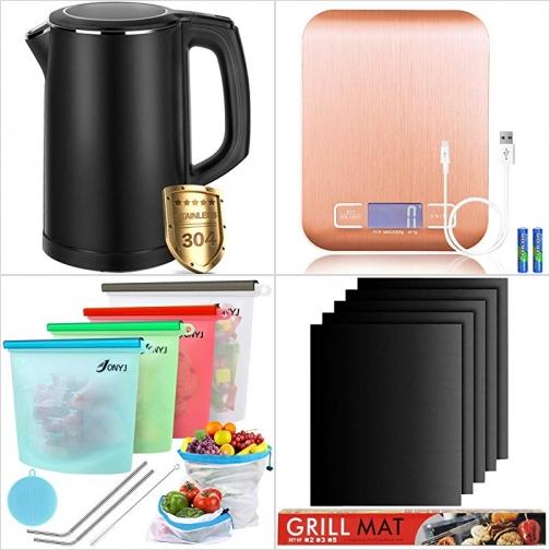 不銹鋼電熱水瓶, 充電式廚用電子秤, 矽膠食物保鮮袋, 不沾烤盤墊 額外折扣!