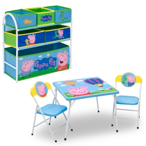 ihocon: Peppa Pig 4-Piece Toddler Playroom Furniture Set兒童桌椅+玩具收納架