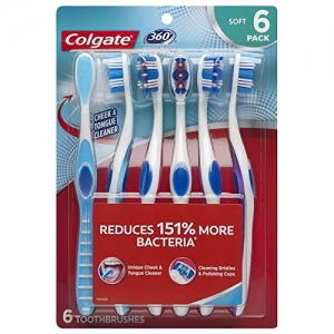 ihocon: Colgate 360 Toothbrush with Tongue and Cheek Cleaner - Soft (6 Count) 高露潔360牙刷