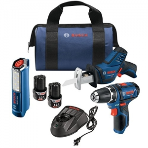 ihocon: Bosch 12V Max 3-Tool Combo Kit (3/8 In. Drill/Driver + Pocket Reciprocating Saw + LED Worklight) 電動工具