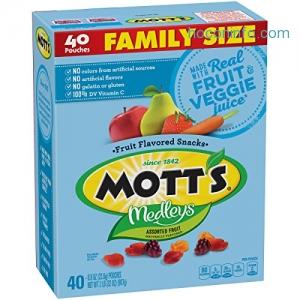 ihocon: Mott's Medleys Fruit Snacks, Assorted Fruit Gluten Free Snacks, Family Size, 40 Pouches, 0.8 oz Each