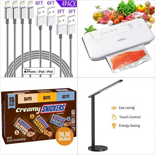 [Amazon折扣碼] iPhone充電線, 食物真空保鮮機, SNICKERS巧克力, LED護眼桌燈 額外折扣!