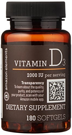 ihocon: Amazon Brand - Amazon Elements Vitamin D3, 2000 IU, 180 Softgels, 6 month supply