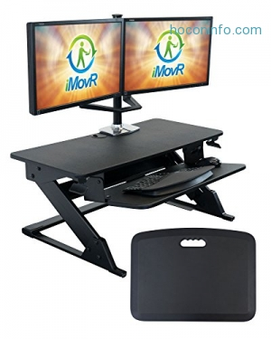 ihocon: iMovR ZipLift+ Standing Desk Converter with Ergonomic Tilting Keyboard Tray, Black, 35