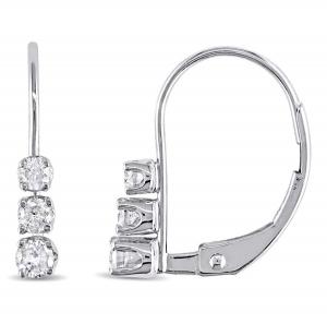 ihocon: Amour 14K白金 1/4克拉(總重)鑽石耳環