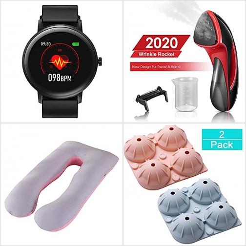 [Amazon折扣碼] 心率監測智能錶, 手持蒸氣熨斗, U型孕婦枕, 矽膠球形製冰盒 額外折扣!