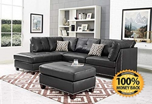 ihocon: ArtMuseKit IND6601JB Leather Sectional Sofa, Dark Espresso 沙發