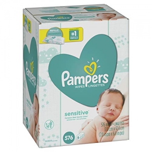 ihocon: Pampers Sensitive Water-Based Baby Diaper Wipes, 9 Refill Packs for Dispenser Tub - Hypoallergenic and Unscented - 576 Count 嬰兒濕巾