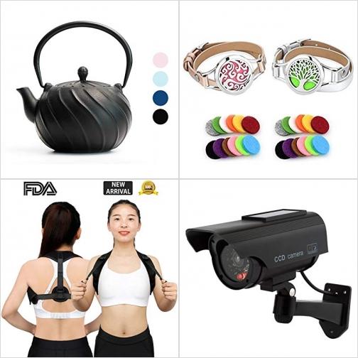 [Amazon折扣碼] 日式鑄鐵茶壺, 精油手環, 姿勢矯正帶, 太陽能假的攝影機 額外折扣!
