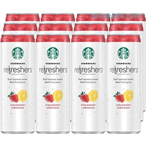 ihocon: Starbucks Refreshers, Strawberry Lemonade with Coconut Water, 12 Ounce Cans, 12 Pack (Packaging May Vary)