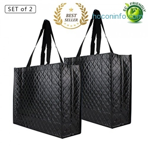ihocon: Reusable Tote Grocery Bags, set of 2防水環保購物袋