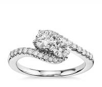 ihocon: Two-Stone Diamond Ring in 14k White Gold (1 ct. tw.)
