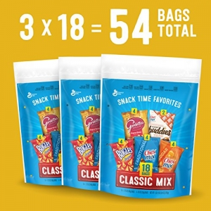 ihocon: Salty Snacks Variety Pack, Includes Chex Mix Original, Chex Mix Cheddar, Gardetto's, Bugles & Muddy Buddies Snack Bags, 18 Pouches Per Bag (Pack of 3 Bags)