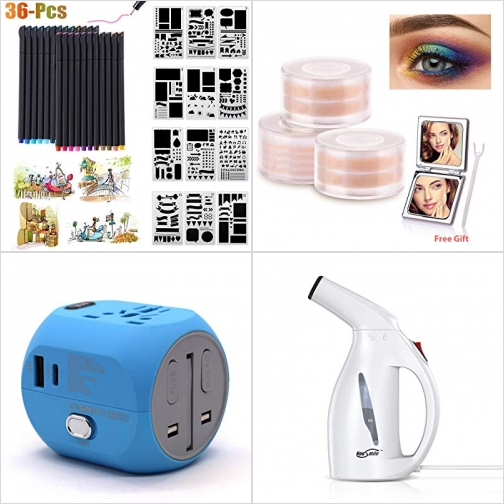 [Amazon折扣碼] 彩色筆及模版, 雙眼皮貼, 萬用旅行插座, 手持蒸氣熨斗 額外折扣!