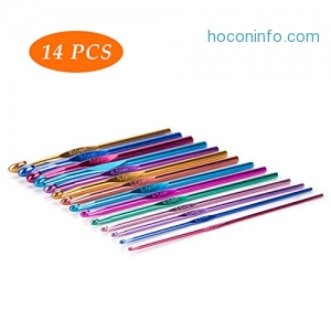 ihocon: CO-Z Colorful Aluminum Crochet Hooks Set (14 Pieces)鈎針組