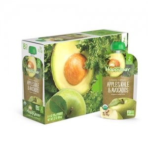 ihocon: Happy Baby Clearly Crafted Organic Baby Food Stage 2, Apples Kale & Avocados, 4 Ounce, 16 Count有機嬰幼兒副食品