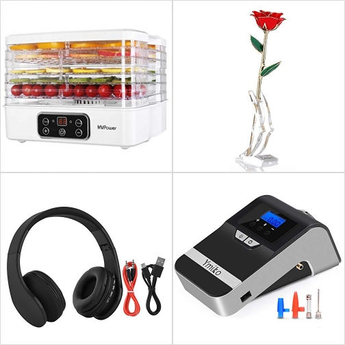 [Amazon折扣碼] 5層食物乾躁機, 24K包金玫瑰, 藍芽無線耳機, 電動打氣機 額外折扣!