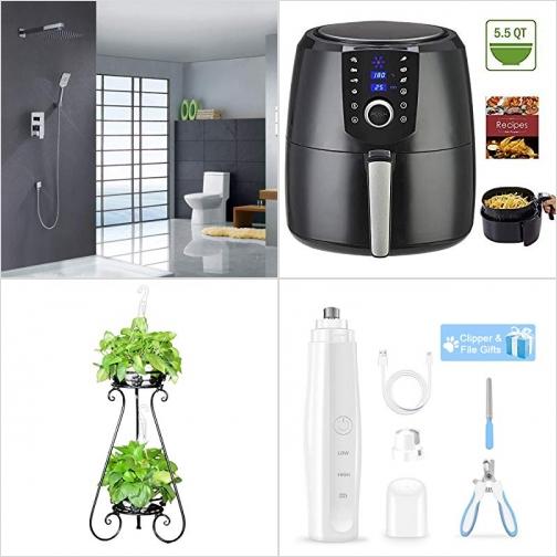 [Amazon折扣碼] 淋浴系統一套, 氣炸鍋, 雙層花架, 寵物指甲剪及電動磨甲器 額外折扣!