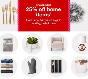 Target: Home items (傢俱, 床單, 窗帘, 毛巾, 地毯…) 全面25% off