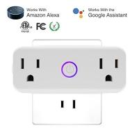 ihocon: [不在家也能遙控電器]isuke Dual Socket Outlets Compatible with Amazon Alexa 智能雙插座