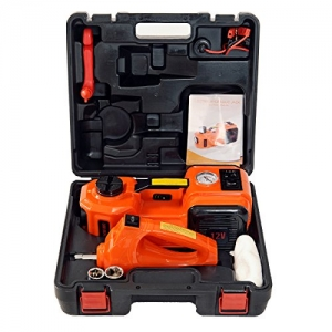 ihocon: MarchInn Electric Hydraulic Floor Jack and Tire Inflator Pump and LED Flashlight 3 in 1 Set with Electric Impact Wrench Car Repair Tool Kit 12 5.0(11000)汽車換胎工具組(3合1電動千斤頂/輪胎打氣幫浦/手電筒 + 電動扳手)