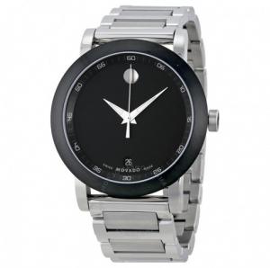ihocon: MOVADO Museum Black Dial Stainless Steel Men's Watch, Item No. 0606604