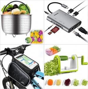[Amazon折扣碼] 不銹鋼蒸鍋, USB C Hub, 自行車防水手機袋, 蔬菜切絲, 切片器 額外折扣!