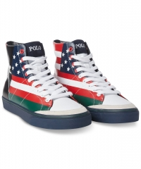 ihocon: Polo Ralph Lauren Men's Solomon Flag-Print Sneakers