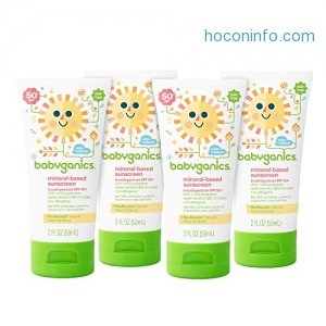 ihocon: Babyganics Mineral-Based Baby Sunscreen Lotion, SPF 50, 2oz Tube (Pack of 4)