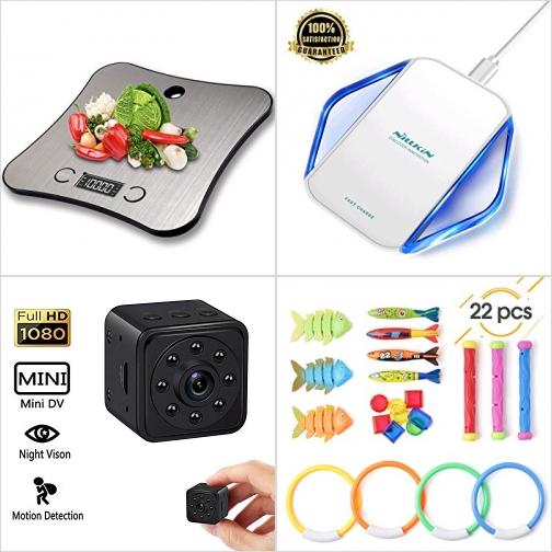 [Amazon折扣碼] 廚用電子秤, 手機無線充電板, 動作感應針孔相機, 泳池玩具 額外折扣!